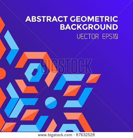 Abstract Geometric Blue Orange Red Jewels Violet Background .