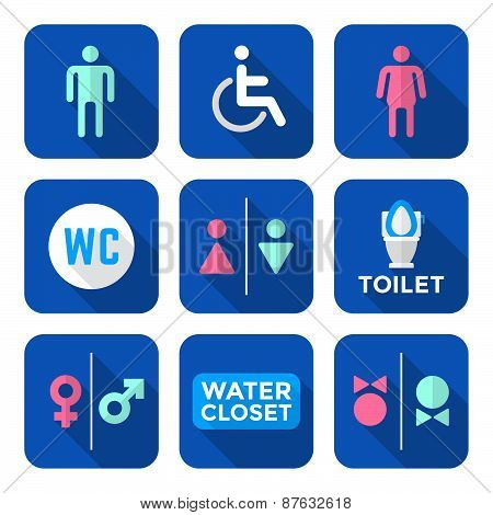 Various Colorful Flat Style Water Closet Signs Toilet Restroom Icons Set.