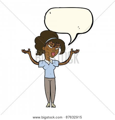 cartoon woman raising hands in air with speech bubble