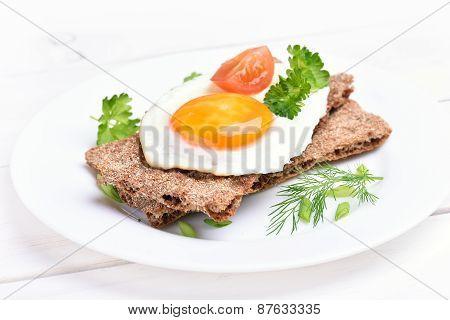 Fried Egg On Crispbread