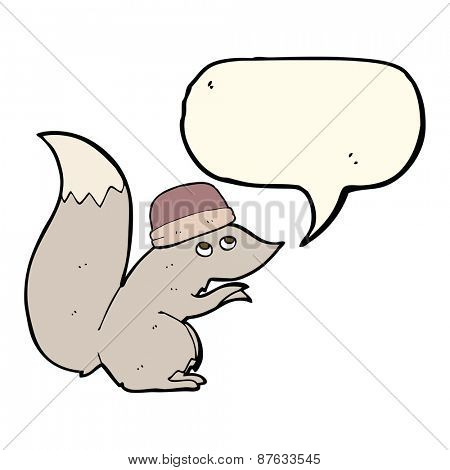 cartoon squirrel wearing hat with speech bubble