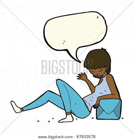cartoon woman leaning on package box with speech bubble