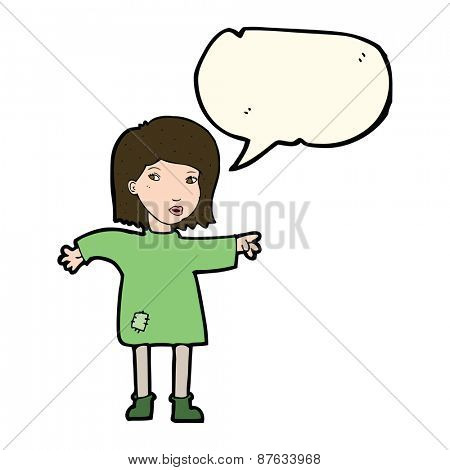 cartoon woman in patched clothing with speech bubble