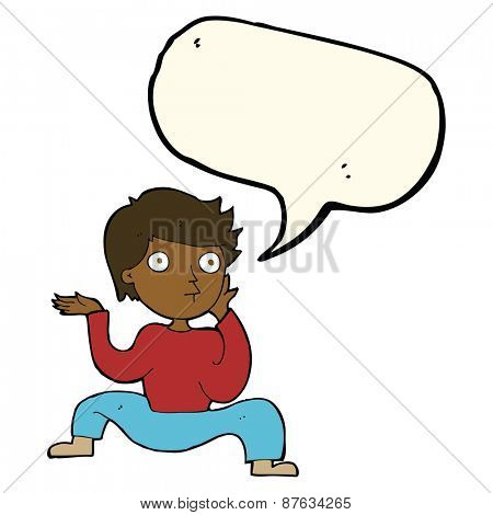 cartoon boy doing crazy dance with speech bubble