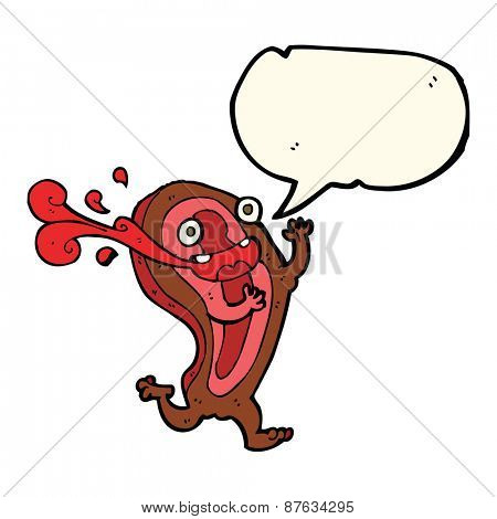 rare steak cartoon character with speech bubble
