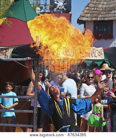 A Performer Spits Fire At The Arizona Renaissance Festival