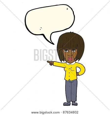 cartoon pointing annoyed woman with speech bubble