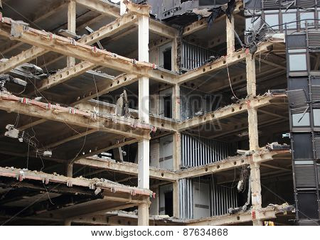 Perspective Of Building Demolition With Open Removed Facade