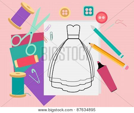 Fashion design. Workplace. Table with fabric and scissors. Vector illustration