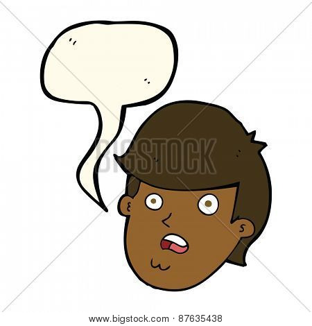 cartoon man with big chin with speech bubble