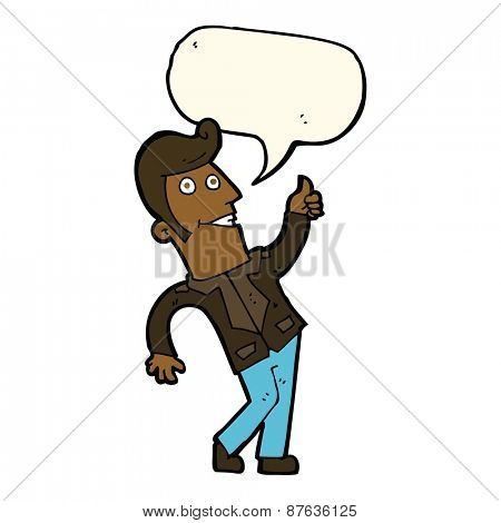 cartoon man giving thumbs up sign with speech bubble