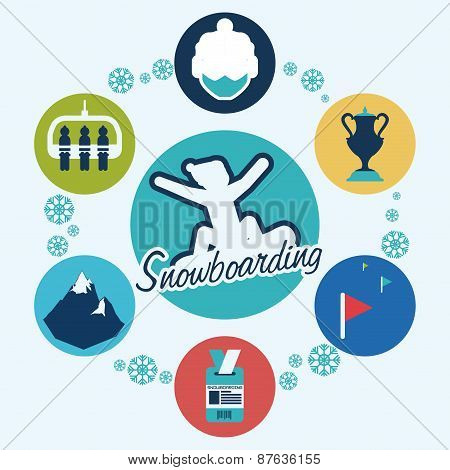 Snowboarding design, vector illustration.