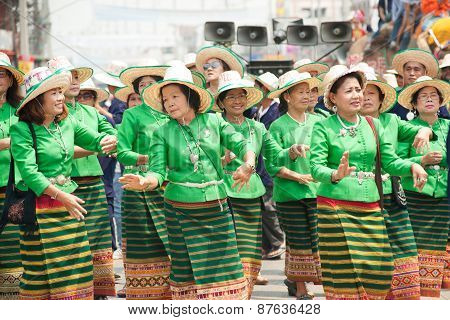 Traditional Thai Dancing In Si Satchanalai Elephant Back Ordination Procession.