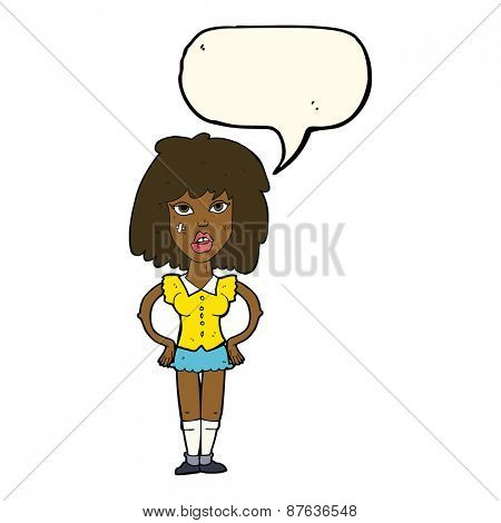 cartoon woman been in fight with speech bubble