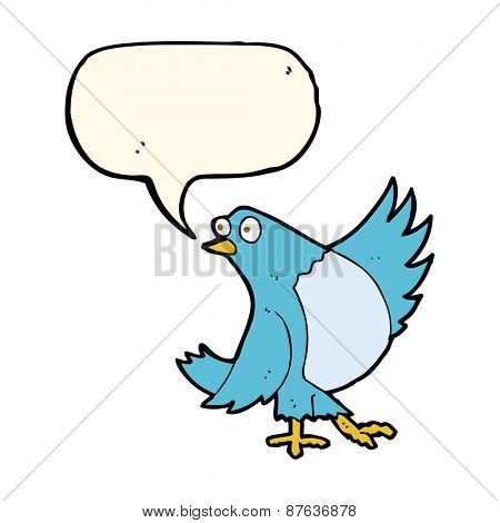 cartoon dancing bluebird with speech bubble