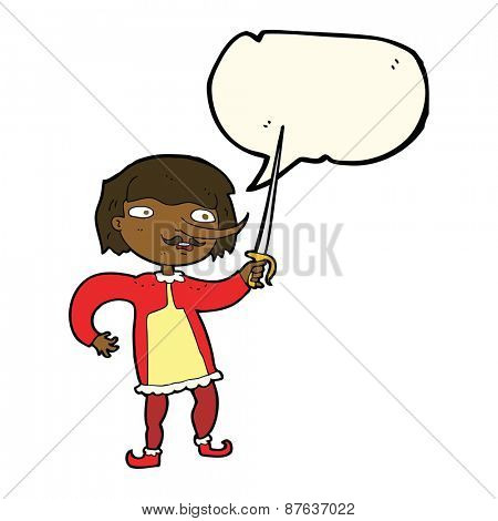 cartoon man with sword with speech bubble