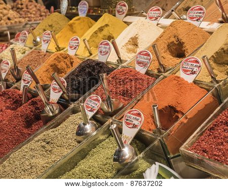 Spices On Display At A Market Stall
