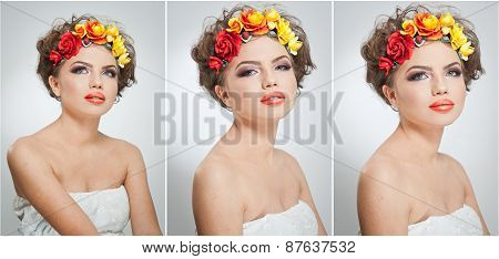 Portrait of beautiful girl in studio with yellow and red roses in her hair and naked shoulders