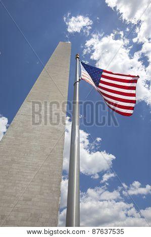 Washington Monument With American Flag