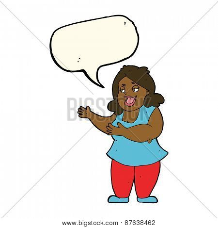 cartoon woman singing with speech bubble