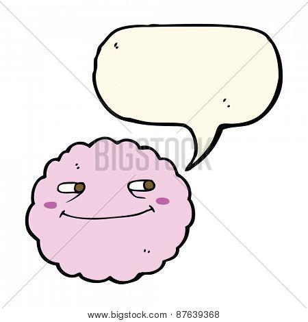 cartoon happy cloud with speech bubble