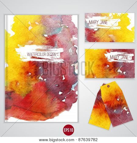 Vector watercolor identity templates for your business.Brochure, card, tags. EPS10.