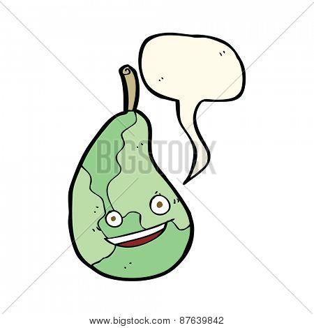 cartoon happy pear with speech bubble