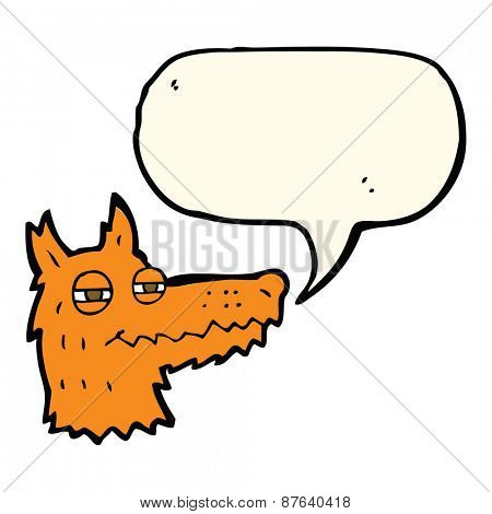 cartoon smug fox face with speech bubble