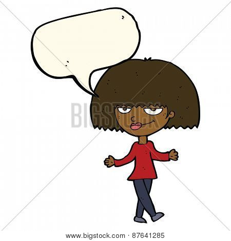 cartoon smug looking woman with speech bubble
