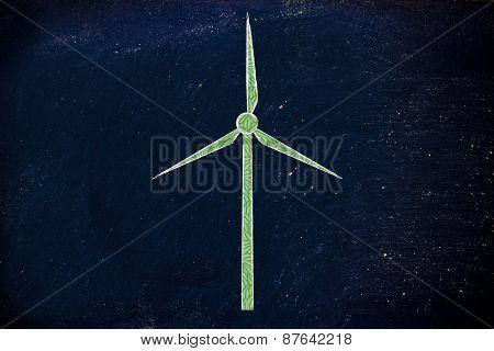 Alternative Energy: Illustration Of Wind Turbine Made Of Leaves