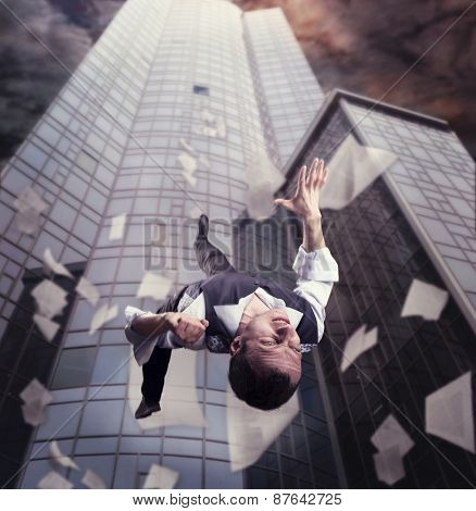 Businessman is falling down