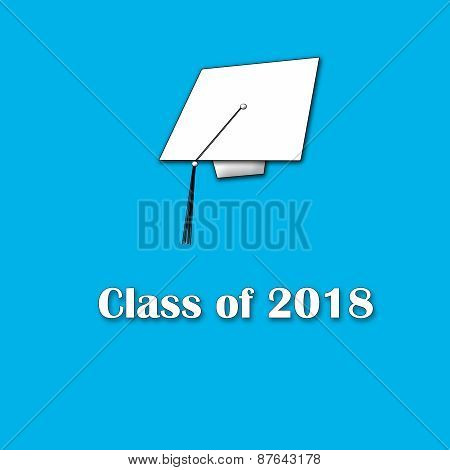 Class of 2018 White on Blue Lg Sngle