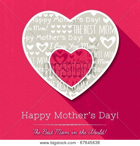 Red Background With  Two Hearts And Wishes Text For Mother's Day,  Vector