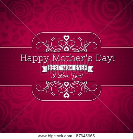 Red Mother's Day Greeting Card  With Roses And Wishes Text,  Vector