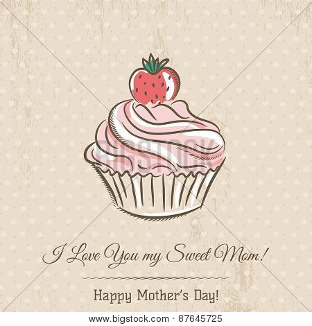 Mother's Day Card With  Cupcake And Wishes Text,  Vector