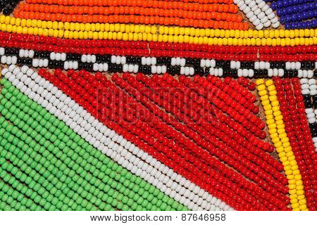 Colorful African beads used as decoration by the Masai tribe in Kenya