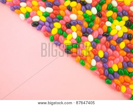 Jelly Beans Frame And Background ( Pink Background )
