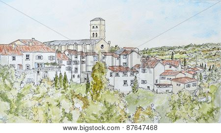 Ink and Watercolour of Montolieu