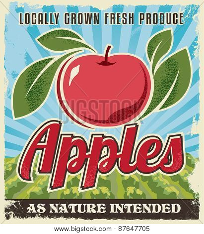 Apple retro vintage crate label design. Background texture vector illustration.