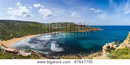 Blue Sea Of The Island Of Gozo In Malta