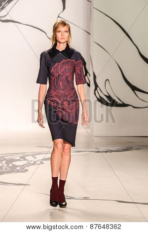 NEW YORK - FEBRUARY 16: A model walks the runway at the Lie Sangbong  Fall/Winter 2015 collection during Mercedes-Benz Fashion Week in New York on February 16, 2015.
