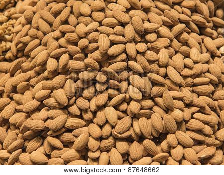 Closeup Of Nuts At A Market Stall