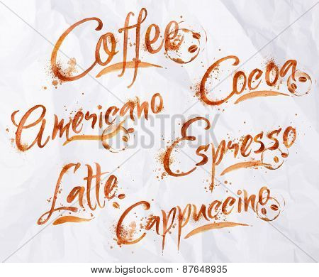 Lettering coffee drops