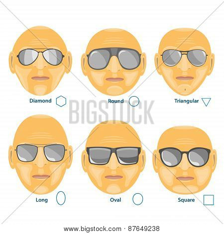 Sunglasses For Different Face.set Of Six Forms.