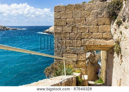 Blue Sea Of The Island Of Gozo In Malta