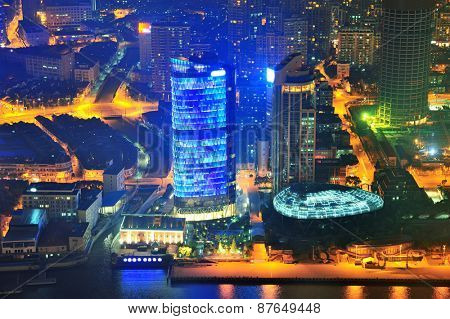 Shanghai aerial view with urban architecture at dusk