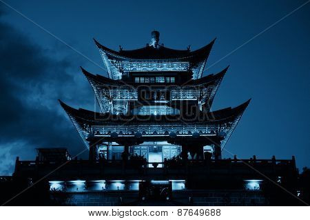 Wuhua House at night as the landmark of Dali Town, Yunnan, China.