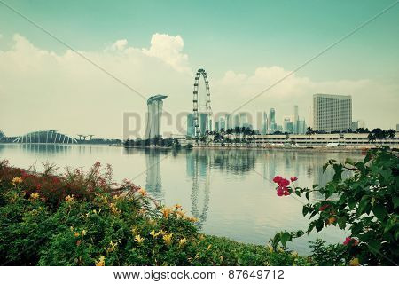 Singapore skyline with urban buildings