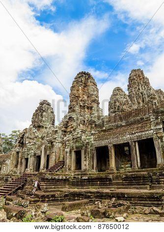 Bayon Khmer Temple stone ruins at Angkor, Siem Reap, Cambodia.