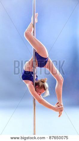 Beautiful Blonde Sexy Pole Dance Woman